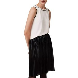 LOFT Black Shimmery Pleated Pull-on Skirt